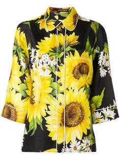 рубашка с рисунком из подсолнухов Dolce & Gabbana