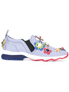 flower appliqué slip-on trainers Fendi