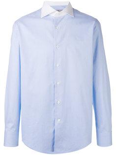 рубашка с мелким узором и контрастным воротником Canali