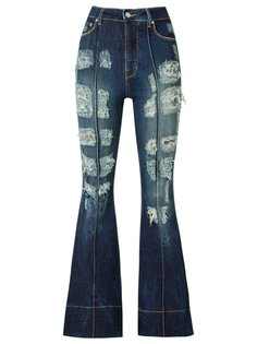 distressed high waist flared jeans Amapô