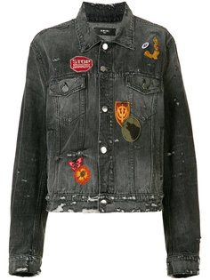 badge patch distressed denim jacket Amiri