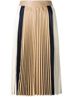 плиссированная юбка миди дизайна колор блок Victoria Beckham