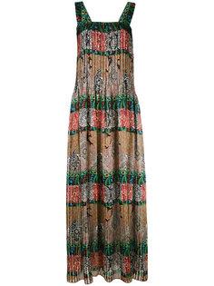 длинное платье с комбинированным принтом Oscar de la Renta