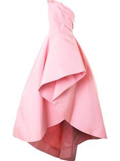 вечернее платье на одно плечо с драпировками Monique Lhuillier