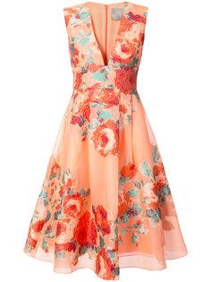 коктейльное платье с цветочным узором Lela Rose