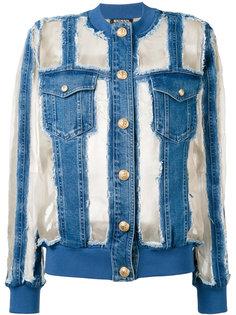 джинсовая куртка с прозрачными панелями Balmain