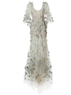 длинное платье с вышивкой перьями  Marchesa