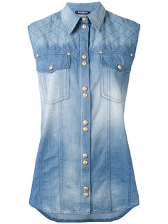 джинсовая блузка без рукавов Balmain