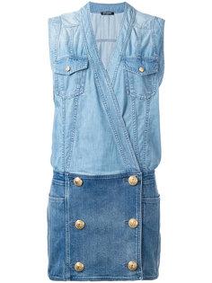 короткое джинсовое платье Balmain