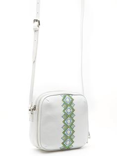 Белая кожаная сумка с вышивкой Labbra