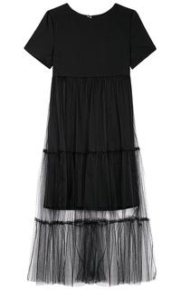 Черное платье с юбкой из фатина La Reine Blanche