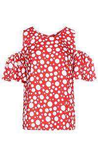 Красная блузка с открытыми плечами La Reine Blanche