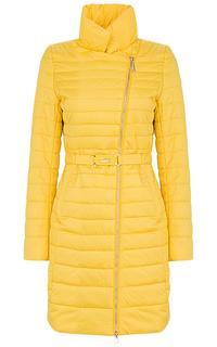 Утепленная желтая куртка с поясом Clasna