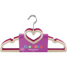 Вешалки 6 шт. 40*0,5*22 см. сердце, бежевый/бордовый/фиолетовый, EL Casa