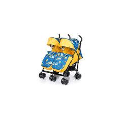 Коляска-трость для двойни BabyHit Twicey, желтый/синий