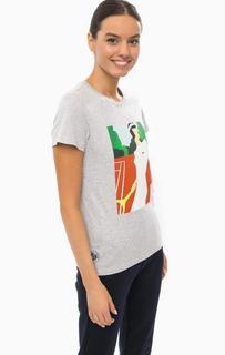 Серая футболка из хлопка с принтом Lacoste