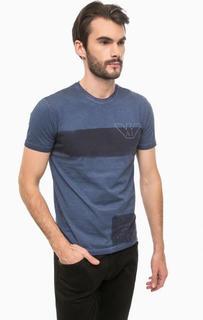 Синяя хлопковая футболка с принтом Armani Jeans