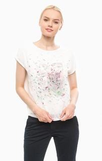 Белая блуза с короткими рукавами и ярким принтом More & More