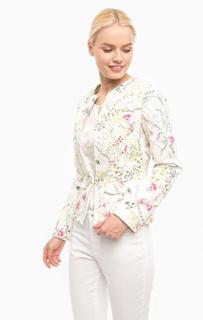 Белый жакет с ярким цветочным принтом More & More