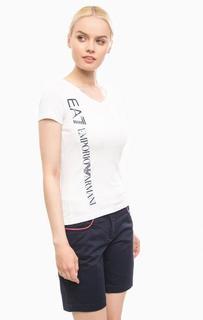 Белая футболка с треугольным вырезом EA7