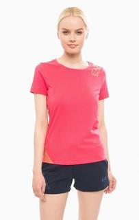 Хлопковая футболка цвета фуксии EA7