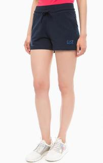 Спортивные синие шорты с отделкой стразами EA7