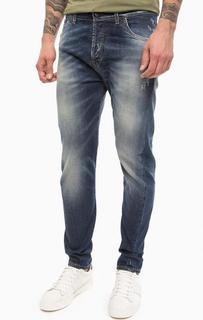 Синие зауженные джинсы с потертостями Liu Jo Uomo