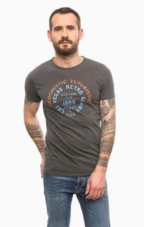 Серая футболка из хлопка с принтом Scotch&Soda