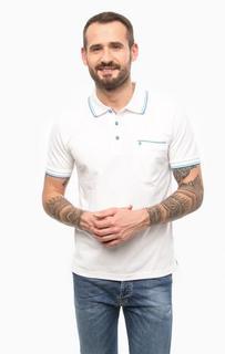 Белая хлопковая футболка поло с карманом Pierre Cardin
