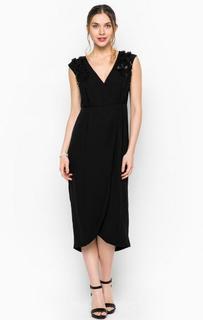 Черное платье с декоративными бусинами и нашивками Darling