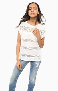 Белая хлопковая футболка с кружевными вставками Guess