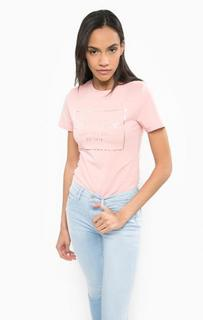 Розовая футболка с принтом Calvin Klein Jeans