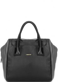 Кожаная сумка с короткими ручками и съемным плечевым ремнем Cerruti 1881