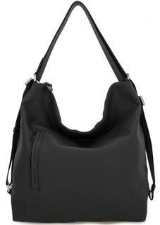Вместительная черная сумка с текстильными ручками Mandarina Duck