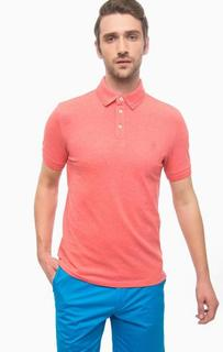 Хлопковая футболка поло кораллового цвета Marc Opolo