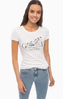 Белая футболка из хлопка с принтом Mavi