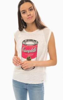 Льняная футболка с контрастным принтом Pepe Jeans