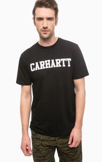 Синяя футболка из хлопка с принтом Carhartt WIP