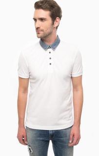 Белая футболка поло с джинсовым воротничком Mavi