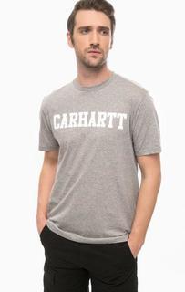Серая футболка из хлопка с принтом Carhartt WIP