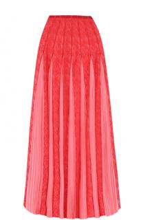 Шелковая юбка с плиссированными вставками Valentino