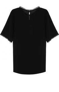 Шелковый топ прямого кроя с кружевной отделкой Dolce & Gabbana
