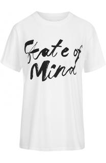 Хлопковая футболка прямого кроя с контрастной надписью 5PREVIEW