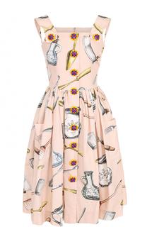 Хлопковый приталенный сарафан с принтом Dolce & Gabbana