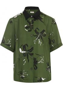Шелковая блуза с коротким рукавом и принтом Dries Van Noten