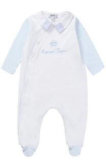 Хлопковая пижама с контрастными рукавами и вышивкой Aletta