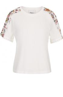 Хлопковая футболка с цветочной отделкой 3.1 Phillip Lim