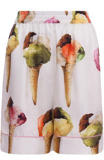Шелковые мини-шорты с принтом Dolce & Gabbana