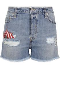 Джинсовые мини-шорты с потертостями и вышивкой Two Women In The World