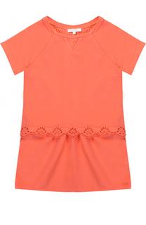 Платье из эластичного хлопка с кружевной отделкой Chloé
